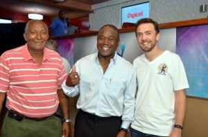 Sir Andy shares a moment with Barbadian Desmond Haynes and Marketing Director for CPL, James Wynne