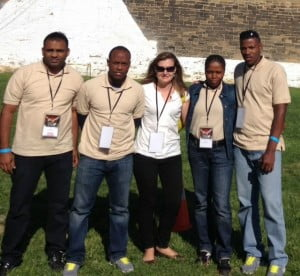 INL Bridgetown Transnational Crime Specialist, Julie Heumphreus (center) with the St. Lucia Corrections officer team