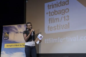 Shakirah Bourne of Barbados, winner of the 2013 RBC Focus: Filmmakers' Immersion pitch session, pitching her eventual prize-winning project, Two Smart, at ttff/13