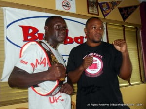 """The main event for the August 23rd card is going to be Renaldo Stuart from Barbados (seen here with Heavyweight contender Calvin """"Snake Doctor"""" Ifill) vs. Gondet Sylvain from France, for the welterweight championship belt."""