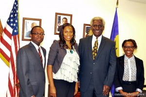 Hubert Humphrey Fellow, Allan Franklin (left), Fulbright Fellow, Samantha Porter (second left) and Fulbright Fellow, Sheena Rose (right) pose with U.S. Ambassador to Barbados, the Eastern Caribbean and the OECS, Dr. Larry Palmer.