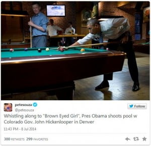 President Obama continued his CO visit with a local brewery to shoot some pool.
