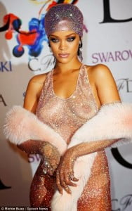 Rihanna at the 2014 CFDA Fashion Awards; Alice Tully Hall at Lincoln Center on June 2 in New York City. IMAGE - Copyright 2014 by Richie Buxo/Splash News