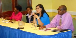 (Left to Right) Dr Cheynie Williams of the QEH's A&E Asthma Bay; Dr Gillian Birchwood - Pediatrician & Neonatologist of the QEH; Dr Maria T. Santiago - Asst Professor of Pediatrics, Cohen Children's Medical Center and Michael Turton, President of the Cystic Fibrosis Foundation of Barbados (CFFB)