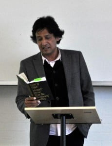 Award-winning author Tabish Khair in London, England, reading from his newest novel How to Fight Islamist Terror from the Missionary Position. (Photo courtesy T. Khair)