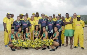 The reigning champions of the Limacol Caribbean Premier League, the Jamaica Tallawahs, stand proudly with its new owners, the Chalak Mitra Group