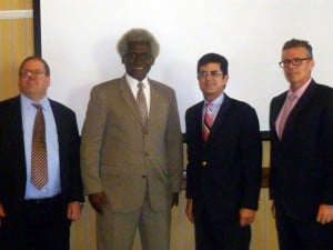 Left to right: Acting Political/Economic Chief at the U.S. Embassy Bridgetown, Michael Carver; U.S. Ambassador to Barbados, the Eastern Caribbean and the OECS, Dr. Larry Palmer; lead of the Puerto Rico trade delegation, Francisco Chevere and president of the American Chamber of Commerce for Barbados and the Eastern Caribbean, Dustin Delany pose for a photo opportunity after the opening ceremony of the trade mission.