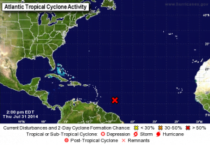 TROPICAL WEATHER OUTLOOK MIAMI HURRICANE CENTER, FL. 2:00 PM EDT, THU 31 JUL 2014 {CLICK FOR BIGGER}