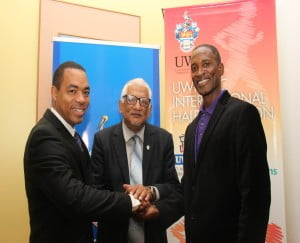(L-R): Mr. Jason Julien, General Manager Investment Services at First Citizens, Campus Principal and Pro Vice-Chancellor, Professor Clement Sankat and Director of The UWI St. Augustine's Sport and Physical Education Centre (SPEC), Major David Benjamin share a handshake to signal the launch of the 11th UWI SPEC International Half-Marathon.