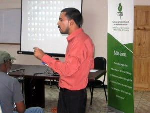 Ansari Hosein, CARDI Trinidad Unit as he delivers one of the modules at the Training