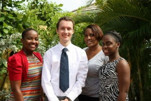 Head of UKHC's Political Team, Martin Robinson with (from left) Kimberley Evelyn, Kurlyn Merchant & Maria Farley.