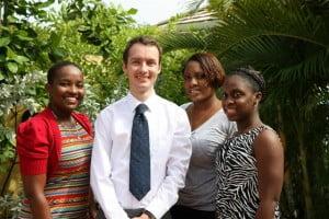 Head of UKHC's Political Team, Martin Robinson with (from left) Kimberley Evelyn, Kurlyn Merchant & Maria Farley.