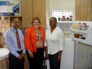 A team from Standard Distribution & Sales (B'dos)Ltd. including (from left to right) David Holder, Chief Financial Officer;  and Katrina Newton, Chief Executive Officer recently presented the Challenor School (represented by Juliet Cumberbatch, Food Preparation Instructor) with a new refrigerator to house products which are manufactured by students and sold through its Hidden Treasures business.