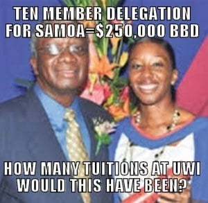 (IMAGE & DATA COURTESY - Nation Publishing, but Sarcasm? All MIne!) The Barbadian team for the Third International Conference on Small Island Developing States (SIDS), which runs from September 1 to 4, will also include Minister of the Environment and Drainage, Dr Denis Lowe and three permanent secretaries.
