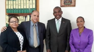 """In a meeting with the Minister of Trade and Industry of Haiti, Mr. Wilson Laleau, Executive Director, Pamela Coke-Hamilton stressed the importance of the Haiti's private sector as she believes that """"Haiti has a role to play in integrating the Caribbean in to the world economy and there is a need to drive production and the export capacity""""."""