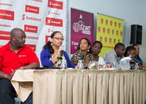 Presenters at the first UPstart Caribbean workshop included (from left) Ryan Hunte, Business Banking Manager, Scotiabank; Sasha Mapp, Comprehensive Learning Academy; Kristina Adams, Adams Aqualife; Ayanna Young Marshall, Coordinator, UWI SEED (Student Entrepreneurial Empowerment Development); Corey Worrell, columnist and motivational speaker; Chamara Hollingsworth, Vision 2 Reality International; and Melinda Belle, Astrape Finance.