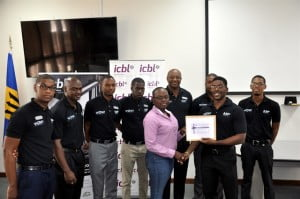 ICBL presented a prize to Ms. Jalisa Phillips who won free insurance for a year presented by Mr. Marcus Myers
