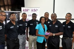 ICBL presented a prize to Juliette Downes, who won a Blackberry Q5 cellphone