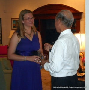 (Backing Camera) Real Estate Guru Paul Altman seen chatting with another guest at Las Cibeles...