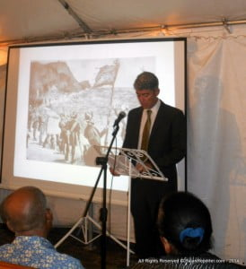 "Part of the Lecture by Mr Matthew Parker on ""We Were Giants: The Story of the Barbadians who built the Panama Canal"" where patrons after a long chat found no snacks after skipping dinner - only juice, wine or rum on empty stomachs..."