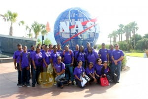 The group of 2013 Visionaries and their teachers during their tour of the NASA facility in Tampa Florida.