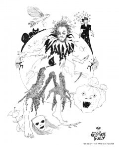 "{Original Illustration from Patrick Foster for the Gap Theatre Production} ""Traditionally, the masquerade entity known as Shaggy Bear was brown in appearance because of the strips of dried banana leaves that created its form. The dried leaves also made a rustling, if not eerie sound as the masquerader spun and performed acrobatic feats. Indeed, one of the explanations for its Barbadian signature name arises from the use of the banana shag for the strips that are its principal feature. Also, the use of organic materials as masking devices, such as leaves and grasses, honours not only the cultural practices of the enslaved Africans and their Barbadian descendants, but also the traditional masquerade of their ancestors in west and central Africa. (It can be noted, for example, that it's St. Lucian equivalent is called Pai Banan, again reflecting its banana leaf manifestation)"" {CLICK FOR BIGGER}"
