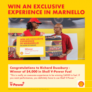 Barbados, we are giving you the chance each week to win $4,000 in Shell V-Power or Shell Diesel. (CLICK FOR BIGGER)