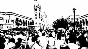 {IMAGE VIA - ArtsEtcBarbados.com} Barbados protests.  Image based on caribbean360.com photo, Copyright 2014.