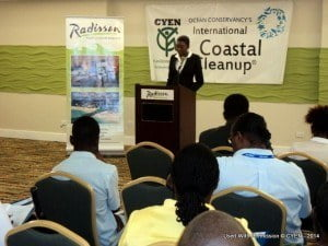 Address from Waynelle Collymore -Taylor - National Coordinator of Caribbean Youth Environment Network - Barbados. In order to have a 'Coast to Boast About', which is this year's theme for the 2014 International Coast Cleanup (ICC), we must do our part to ensure that the coastline is clean and remains clean.