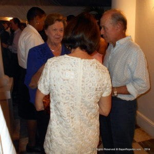 The Barbados Cancer Society's Dorothy Cooke-Johnson at left in blue with Limegrove Mall founder Paul Altman at extreme right chatting with a mutual guest (backing camera) at Ben Mar - official residence of the British High Commissioner to Barbados & Eastern Caribbean.