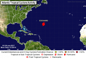 AT 1100 PM AST THE CENTER OF HURRICANE EDOUARD WASLOCATED NEAR LATITUDE 29.0° NORTH,LONGITUDE 56.9° WEST. EDOUARD ISMOVING TOWARD THE NORTH-NORTHWEST NEAR 13 MPH. A TURNTOWARD THE NORTH IS EXPECTED BY EARLY MONDAY,FOLLOWED BY ANORTHEASTWARD TURN WITH INCREASING FORWARD SPEED BY TUESDAY.