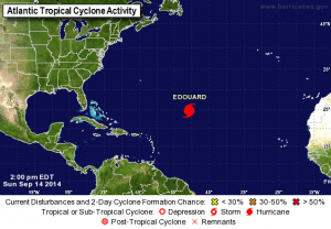 AT 5:00 PM, THE CENTER OF HURRICANE EDOUARD WAS LOCATED NEAR LATITUDE 25.4 NORTH, LONGITUDE 52.1 WEST. EDOUARD IS MOVING TOWARD THE WEST-NORTHWEST NEAR 14 MPH...22 KM/H. A MOTION TOWARD THE NORTHWEST AND NORTH-NORTHWEST AT A SLIGHTLY SLOWER FORWARD SPEED IS EXPECTED ON MONDAY.
