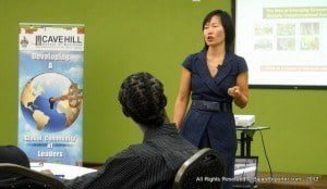 """(Premier Asian commerce expert Haiyan Wang at Cave Hill School of Business in 2012, informing Bajans there's a huge market to source when calling on Beijing's resources - PERSONAL FILE IMAGE) US airlines and US Airports are working hard to gain more Chinese business. For instance, American Airlines launched new routes in to Shanghai and Hong Kong from its hub at Dallas/Fort Worth International Airport in June. Not to be outdone, Delta Air Lines launched a non-stop flight between Hong Kong and Seattle in the same month, and United Continental Holdings added a route from San Francisco to the central Chinese city of Chengdu. All the airlines cited """"the consistent growth in the number of Chinese leisure travellers venturing abroad"""" as the basis for their investment."""