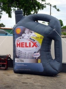 This supersized inflatable bottle of Shell Helix Ultra is currently making the rounds of Shell Service Stations across the island.