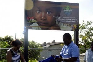 """The billboard formed part of the mandate of President Marshall in keeping with her theme for the year """"Making Our Mark - We Build Bridges for Children to the Future""""."""