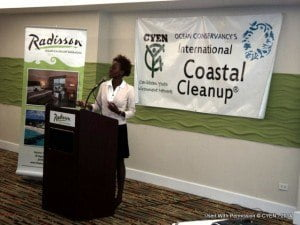 Jamilla Sealy conducting a presentation about the results of ICC 2013 and the dangers of marine litter.