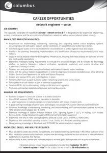Columbus is seeking a Network Engineer - Voice to join their team.