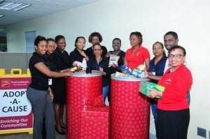 Lynda Goodridge, Director Regional Operations (Barbados), CIBC FirstCaribbean said that her team's activities committee comprising Jacqueline Boyce, Roslyn Turney, Dolores Medford, Shernelle Grant, Latoya Franklyn, Tamiesha Edwards, Alexis Watson and Jacquilin Moore selected Teen Challenge Barbados and the HIV/AIDS Food Bank as the organisations to benefit from funds raised through their jeans for charity drive as well as the bank's Adopt-A-Cause programme.