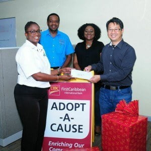 The bank's Internal Audit team collected supplies and raised monies after hearing a plea for support of the nationwide uniform, school supplies, and food drive organised by the Progressive Optimist Club. The bank's Chief Auditor, Ben Douangprachanh and Audit Practice Officer, Rosalind Clarke presented the supplies and a cheque on behalf on the team.