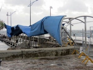 Awning at the Charlestown Pier ripped off during the passage of Tropical Storm Gonzalo on 13th October 2014