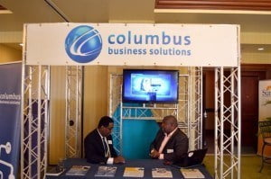 Rory Hunte, SME team lead (right) with Livingstone Hunte, corporate account manager, hospitality were part of the CBS team who are supporting BIBA's International Week 2014.