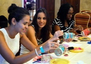 Brides enjoying the DIY session with The Bead Café