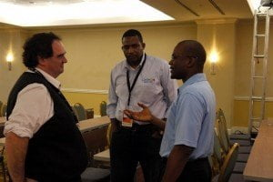 From left, Carlos Martinez, chief technology officer of the the Latin American and Caribbean Internet Addresses Registry (LACNIC), Stephen Lee, programme manager of the Caribbean Network Operators Group (CaribNOG) and Bevil Wooding, Caribnog executive director share a light moment on the opening day of Caribnog8-Lacnic Caribbean 6, which is being held at the Hilton in Willemstad, Curacao from September 29 to October 3. Photo: Gerard Best More information is available on the official event websites: lacnic.net/web/eventos/caribbean6 and caribnog.org