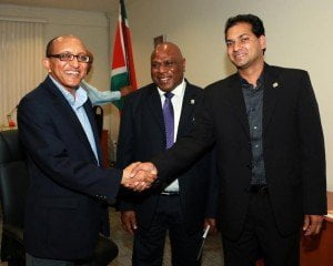 (L-R): Michael Hailu, CTA Director; Hon. David Tosul Butulso, Minister of Agriculture, Livestock, Forestry, Fisheries and Biodiversity, Vanuatu and Hon. Soeresh Algoa, Minister of Agriculture, Animal Husbandry and Fisheries, Suriname.
