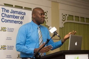 "Devon Hunter, General Manager of Toucan Jamaica, presenting at the seminar entitled ""Digital Media Guide: Navigating to Success"""