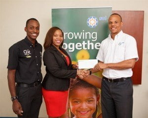 Kirk King, Sales & Marketing Manager, Sol (Barbados) Ltd (right) made the sponsorship presentation to Abena Agard, President of JCI Barbados, and Dwayne Worrell, Project Chairman, Special Day for Special Children.