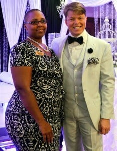 "One of the sponsors of the event, Melena Simon-O'Neil from Emerald Designs & Events with Terry Hall, Kleinfeld's Fashion Director. To view highlights from the ""The Wedding Convention"" 2014 please visit the Facebook Page: facebook.com/TheWeddingConventionTT"
