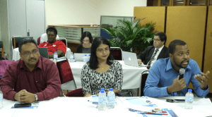 Left to right, Ronald Mohammed, IPTV technologies manager, TSTT, Rehanna Jaleel, legal and regulatory manager, and Kurleigh Prescod, vice president network services, Columbus Communications, at the Internet Society's INET TT Forum, hosted by the Telecommunications Authority, Barataria, October 8 and 9, 2014, PHOTO: GERARD BEST