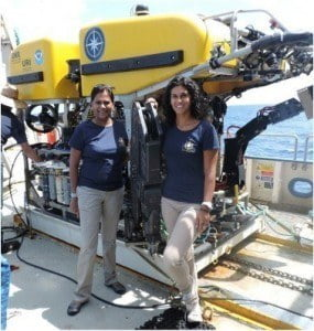 Dr. Judith Gobin (left) and Dr. Diva Amon (right) in front of ROV Hercules