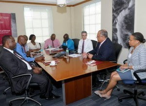 The meeting which took place at the regional bank's corporate headquarters at Warrens St. Michael saw Mark St. Hill, CIBC FirstCaribbean's Managing Director, Retail, Business and International Banking and Donna Wellington, Managing Director and Barbados Country Head, highlighting to the minister and his team the range of products and services which the bank offers specifically to help businesses access capital and grow their enterprises.